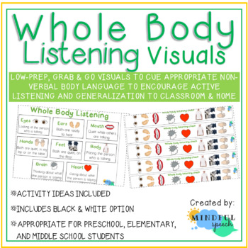 Whole Body Active Listening Visuals for Speech Therapy and Classroom