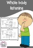 Whole body listening worksheet