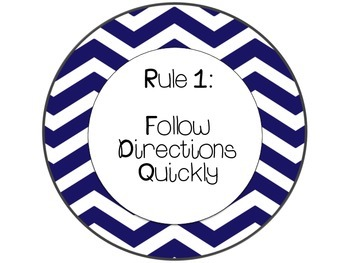 Whole brain Teaching Rules Posters - Blue Chevron Set
