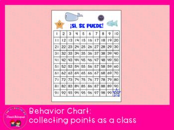 Ocean theme behavior chart Spanish