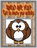 Whoo Are You: Back to School Buddy Activity