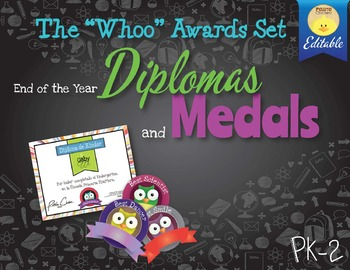 """End of the Year Diplomas and Medals Set """"Whoo Awards"""""""