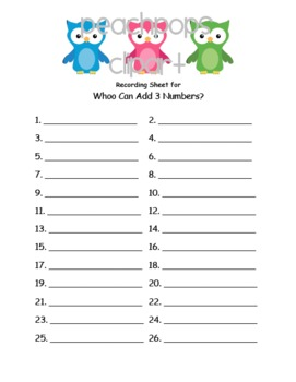 Whoo Can Add Three Numbers? (Common Core 1.OA.2)