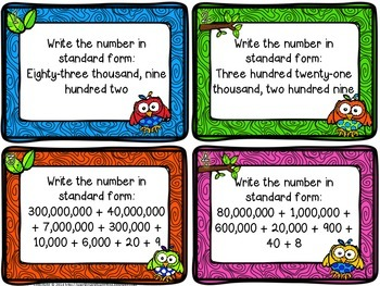 Whoo Can? I Can! Understand Numeration Task Cards