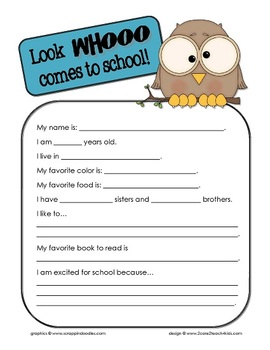 Whoo Comes to School ~ An Owl Themed Getting to Know You Pack