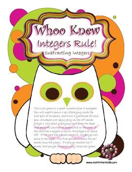 Whoo Knew?  Integers Rule! - Subtracting Integers