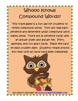 Whoo Knows Compound Words?