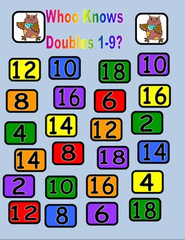 Whoo Knows Doubles? Math Bump Game