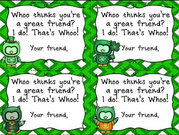 Whoo Thinks Your Great? (St. Patty's Themed Positive Notes)