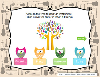Whoo knows instrument families -- aural recognition practice game