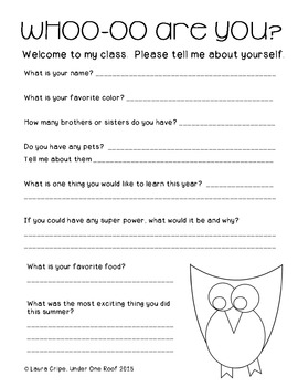 Whoo-oo Are You? First Day of School Activities