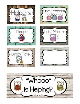 Whoo's Helping? - Rustic Owl Classroom Job Labels