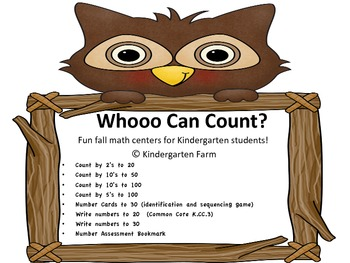 Whooo Can  Count?  Fun fall math counting centers for kindergarten.