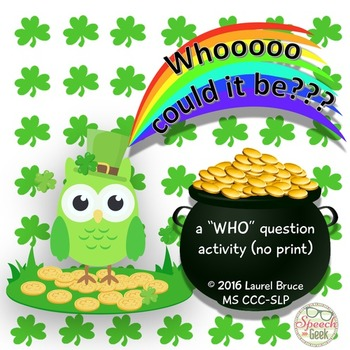 """Whooo Could It Be?  A """"who"""" question no-print activity"""