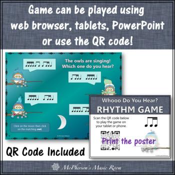Whooo do you hear?  Interactive Rhythm Game (1 eighth/2 sixteenths)