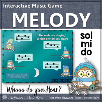 Whooo do you hear?  Interactive Melody Game (Do Mi Sol)