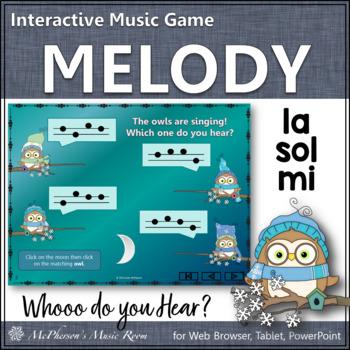 Whooo do you hear?  Interactive Melody Game (Sol Mi La)