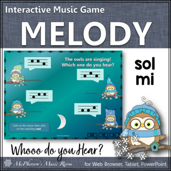 Whooo do you hear?  Interactive Melody Game (Sol Mi)