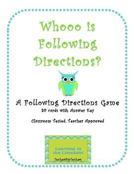 Whooo is Following Directions?- A Following Directions Game