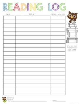 Whooo is Reading? -- Colorable Reading Log