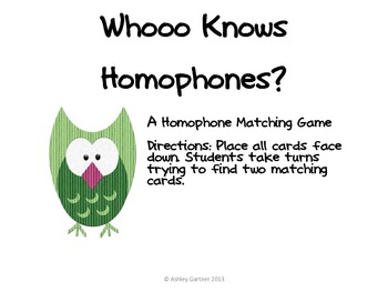 Whooo knows homophones? matching game