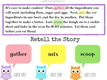 Whoooo Can Retell A Story? Non-Fiction Sequences Edition NO PRINT Teletherapy