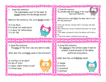 Whoooo Knows The Unfamiliar Word? Context Clue Task Cards