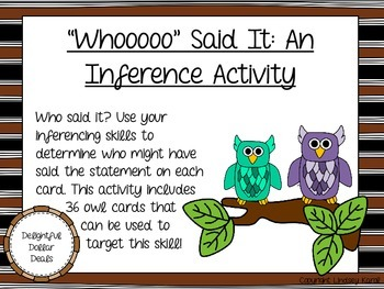 """Whooooo"" Said It: An Inference Activity"