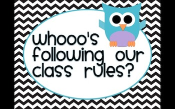 Whooo's Following Our Class Rules? Owl and Chevron Rules and Clip Chart