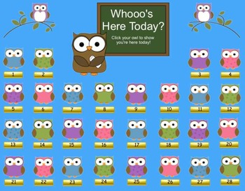 """""""Whooo's Here Today?"""" Owl & Back to School Theme SMART Board Attendance w/ SOUND"""