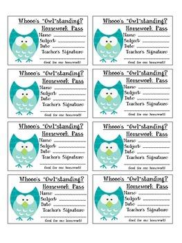 """Whooo's """"Owl""""standing Homework Passes"""