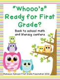 Whooo's Ready for First Grade Math and Literacy Centers