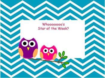 Whooo's Star of the Week? Chevron Owl theme Printable