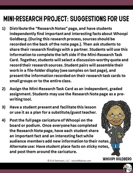 Whoopi Goldberg Bio: Print & Go Mini-Research Project