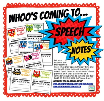 Whoo's Coming to Speech Freebie {Superhero style!}