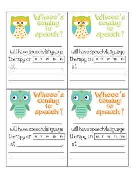 Whoo's Coming to Speech (speech time/day reminder notes freebie!)