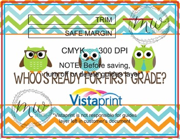 Whoo's Ready for First Grade Postcard Vistaprint {Custom grade available}