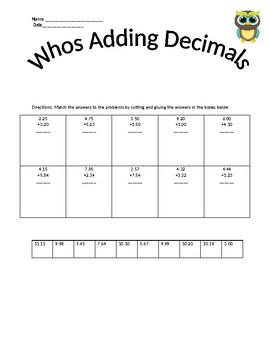 Whos Adding Decimals