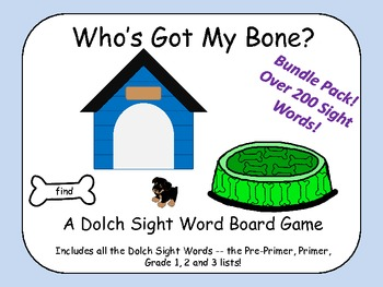 Who's Got My Bone? - All the Dolch Sight Words in one Board Game!