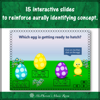 Spring Music: 1 eighth/2 sixteenths Interactive Rhythm Game {Who's Hatching}