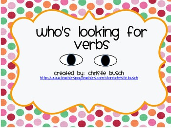 Who's Looking for Verbs File Folder Game