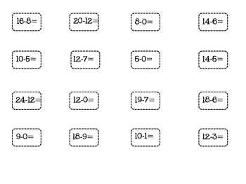 Who's Number is it? Subtraction Game