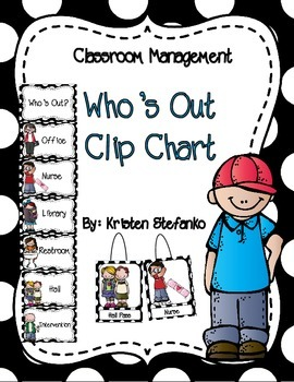 Who's Out? Clip Chart (Black and White Polka Dots)