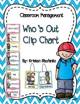 Who's Out Clip Chart (Bright Chevron)
