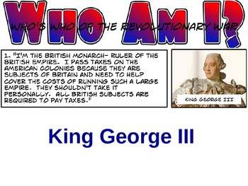 Who's Who of the American Revolution PowerPoint