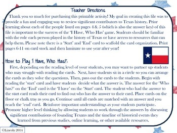 """Who's who in Texas history, """"I Have, Who Has?"""""""