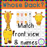 Whose Back? Match Back View to Front View of Animals Game. Perceptual Skills