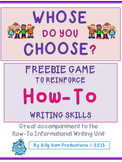 Whose Do You Choose? Game: How-To Common Core Writing Analysis