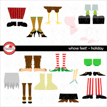 Whose Feet? Holiday Clipart by Poppydreamz NOW with LINE ART