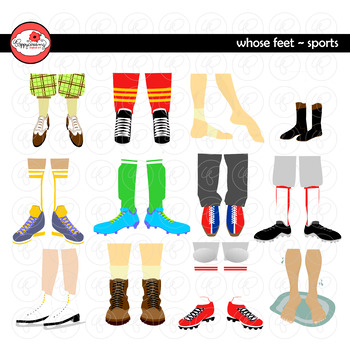 Whose Feet? Sports Clipart by Poppydreamz NOW with GRAYSCALE